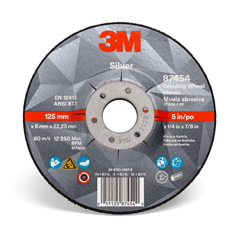 "3M 5"" X 1/4"" X 5/8"" - 11 Silver 36 Grit Precision Shaped Ceramic Grain Type 27 Depressed Center Grinding Wheel"