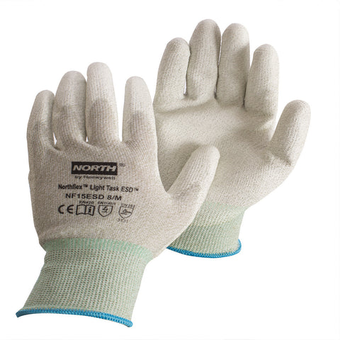 Honeywell Medium NorthFlex Light Task ESD 15 Gauge Gray Polyurethane Palm And Fingertips Coated Work Gloves With Gray Thunderon® ESD Fiber Liner And Knit Wrist
