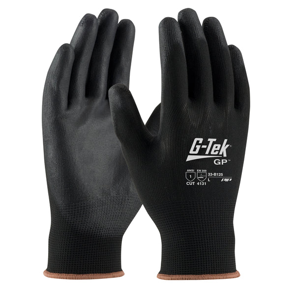 PIP® Large G-Tek® GP 13 Gauge Black Nitrile Palm And Finger Coated Work Gloves With Nylon Liner And Continuous Knit Wrist