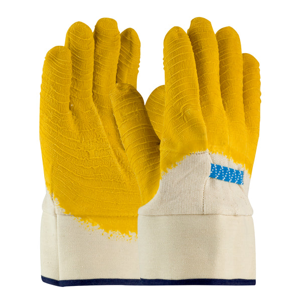PIP® Large Armor® 10 Gauge Yellow Latex Palm  Finger And Knuckles Coated Work Gloves With Cotton Liner And Safety Cuff-Price is per 72 Pair