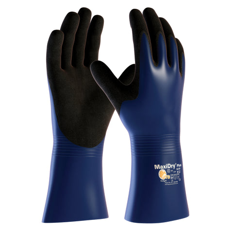 PIP® Large MaxiDry® Plus by ATG® Black Nitrile Full Coated Work Gloves With Nylon Liner And Gauntlet Cuff