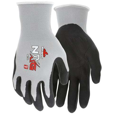 MCR Safety® Medium NXG 13 Gauge Black Foam Nitrile Palm And Fingertips Coated Work Gloves With Gray Nylon Liner And Knit Wrist   -Price is per 1 Pair