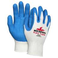 MCR Safety Small FlexTuff Latex Palm And Fingertips Coated Cotton And Polyester Work Gloves