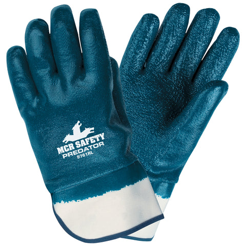 MCR Safety® Medium Predator® Blue Premium Rough Nitrile Full Dip Coating Work Gloves With Natural Jersey Liner And Safety Cuff