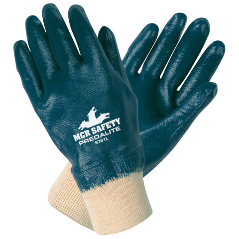 MCR Safety® Medium Predalite® Blue Nitrile Full Dip Coating Work Gloves With Natural Interlock Liner And Knit Wrist   -Price is per 1 Pair