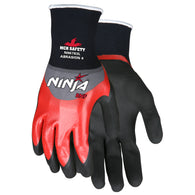 MCR Safety Large Ninja Nitrile Over The Knuckles Coated/BNF And NFT Palm And Fingertip Coated Nylon And Spandex Work Gloves