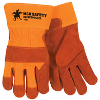 MCR Safety Large Russet Select Side Split Cowhide Palm Gloves With Fabric Back And Rubberized Safety Cuff