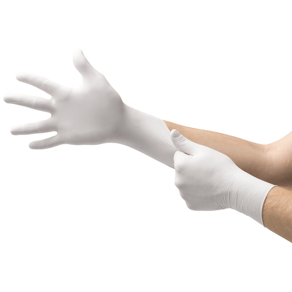 Ansell Large White Microflex® Tranquility® 3.9 mil Nitrile Disposable Gloves -Price is per 1 Box