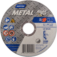 "Norton 4 1/2"" X .045"" X 7/8"" Metal RightCut Coarse Grit Type 01/41 Right Angle Cut Off Wheel"