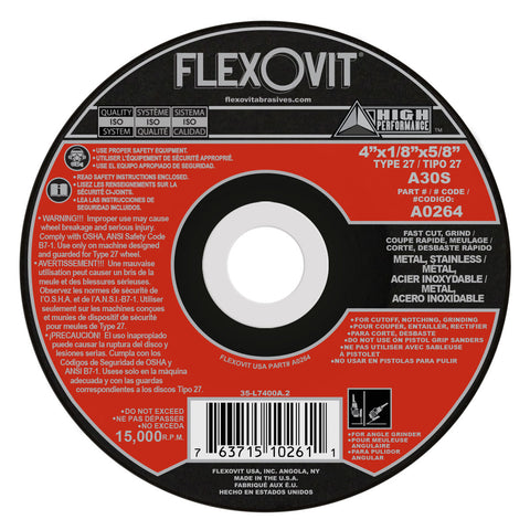 "Flexovit® 4"" X 1/8"" X 5/8"" HIGH PERFORMANCE 30 Grit Aluminum Oxide Grain Reinforced Type 27 Depressed Center Combination Wheel"
