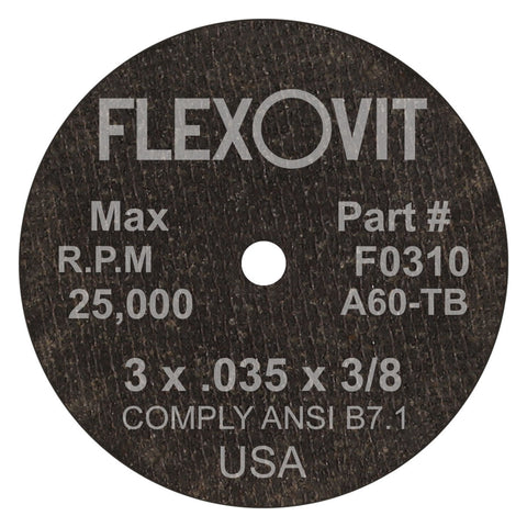 "Flexovit® 3"" X .035"" X 3/8"" HIGH PERFORMANCE 60 Grit Aluminum Oxide Grain Reinforced Type 1 Cut Off Wheel"