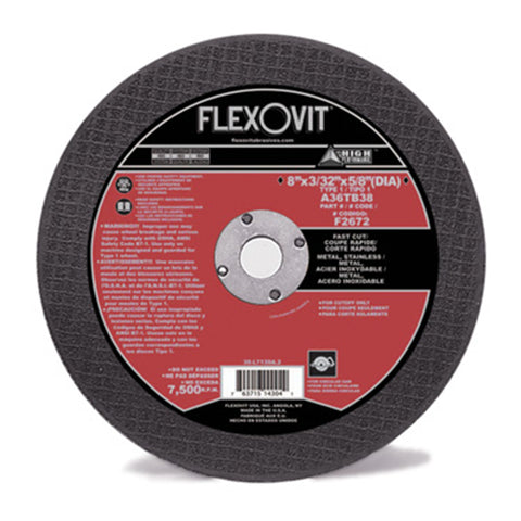 "Flexovit® 8"" X 3/32"" X 5/8"" HIGH PERFORMANCE METAL 36 Grit Aluminum Oxide Grain Reinforced Type 1 Cut Off Wheel"