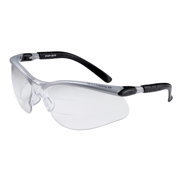 3M BX Dual Readers 1.5 Diopter Silver And Black Frame Safety Glasses With Clear Anti-Fog Lens