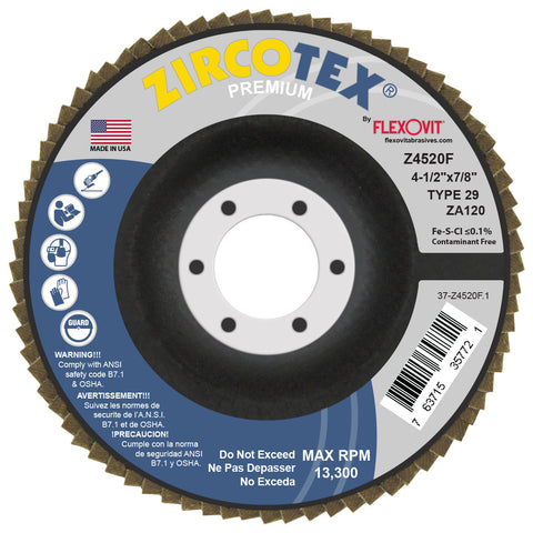 "FlexOvit® ZIRCOTEX® 4-1/2"" X 7/8"" 120 Grit Type 29 Flap Disc   -Price is per 10 Each"