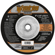 "Flexovit® 9"" X 1/4"" X 5/8"" - 11 Foundryhog® 24 Grit Premium Blend Grain Reinforced Type 27 Spin-On Depressed Center Grinding Wheel-Price is per 10 Each"