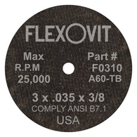 "Flexovit® 3"" X .035"" X 3/8"" HIGH PERFORMANCE 60 Grit Aluminum Oxide Grain Reinforced Type 1 Cut Off Wheel-Price is per 1 Each"
