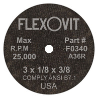 "Flexovit® 3"" X 1/8"" X 3/8"" HIGH PERFORMANCE A36R Grit Aluminum Oxide Grain Reinforced Type 1 Cut Off Wheel-Price is per 25 Each"