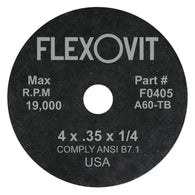"Flexovit® 4"" X .035"" X 1/4"" HIGH PERFORMANCE 60 Grit Aluminum Oxide Grain Reinforced Type 1 Cut Off Wheel-Price is per 100 Each"
