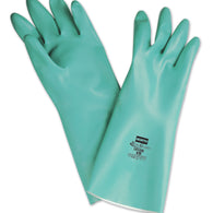 Honeywell Size 9 Green Nitri-Guard Plus Flock Lined 15 mil Unsupported Nitrile Chemical Resistant Gloves-Price is per 1 Pair