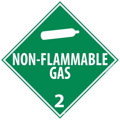 "NMC 10 3/4"" X 10 3/4"" White .05"" Rigid Plastic DOT Placard ""NON-FLAMMABLE GAS 2""-Price is per 1 Each"