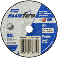 "Norton® 3"" X 1/16"" X 3/8"" BlueFire® Coarse Grit Zirconia Alumina Portable Type 01/41 Small Diameter Cut Off Wheel-Price is per 1 Each"