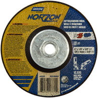 "Norton® 5"" X 1/8"" X 5/8"" - 11 NorZon Plus® Extra Coarse Grit Ceramic Alumina Type 27 Depressed Center Combination Wheel-Price is per 1 Each"