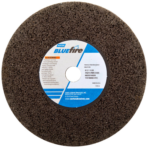 "Norton® 3"" X 1/4"" X 3/8"" BlueFire® Extra Coarse Grit Zirconia Alumina Portable Reinforced Type 01 Snagging Wheel-Price is per 50 Each"