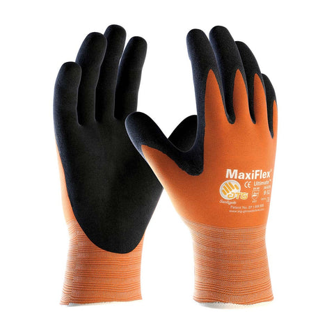 PIP® Large MaxiFlex® Ultimate by ATG® Black Nitrile Palm And Finger Coated Work Gloves With Nylon Liner And Continuous Knit Wrist-Price is per 12 Pairs