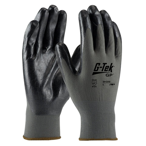 PIP® Large G-Tek® GP 13 Gauge Black Nitrile Palm And Finger Coated Work Gloves With Nylon Liner And Continuous Knit Wrist-Price is per 1 Pair