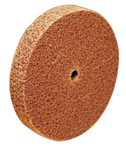 "3M 3"" X 1/4"" X 3/8"" Medium Grade Aluminum Oxide Scotch-Brite Tan Unitized Wheel"