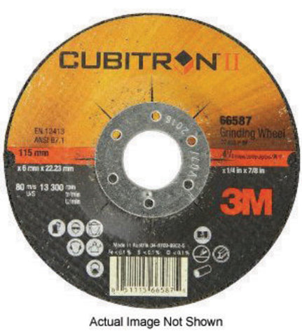 "3M 4"" X 1/4"" X 5/8"" 36+ Grit Ceramic Aluminum Oxide Cubitron II Type 27 Depressed Center Grinding Wheel For Use On Stainless Steel, Mild Steel And Aerospace Alloys"