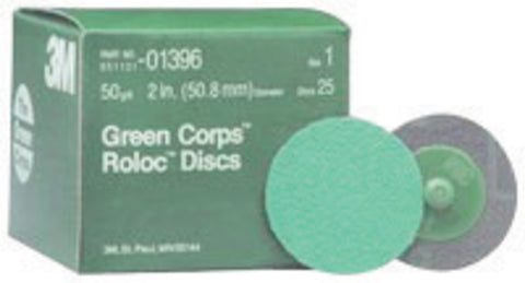"3M 2"" 50 Grit Coarse Grade Aluminum Oxide Green Corps Roloc 264F Green Quick Change Coated Abrasive Disc -Price is per 1 Each"