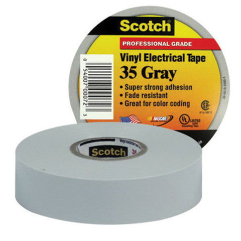 "3M 3/4"" X 66' Gray Scotch® 35 7 mil Flame Retardant PVC Color Coding Premium Grade Electrical Tape"