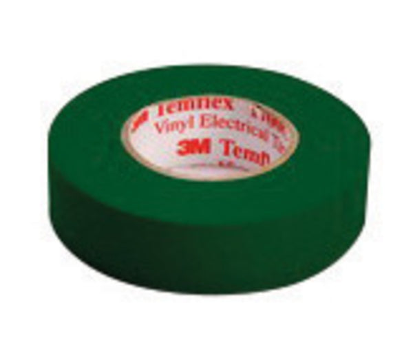 "3M 3/4"" X 66' Green Temflex 1700C 7 mil Flame Retardant PVC General Purpose Single Sided Electrical Tape"