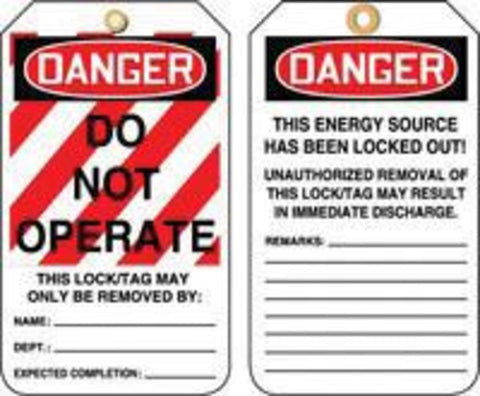"Accuform Signs® 5 7/8"" X 3 1/8"" HS-Laminate Lockout - Tagout Tag DANGER DO NOT OPERATE -Price is per 1 Package"