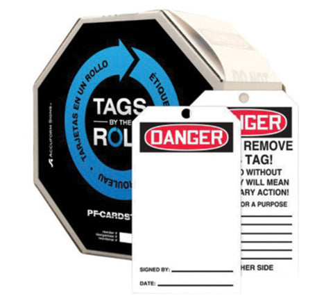 "Accuform Signs® 6 1/4"" X 3"" Red, Black And White 10 mil PF-Cardstock English Blank Tags By-The-Roll ""DANGER"" With 3/8"" Plain Hole"