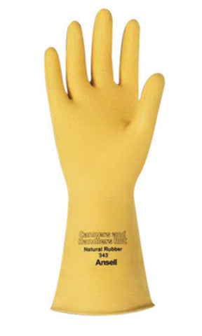 Ansell Size 7 Natural Canners And Handlers Unlined Lined 20 mil Latex And Rubber Chemical Resistant Gloves