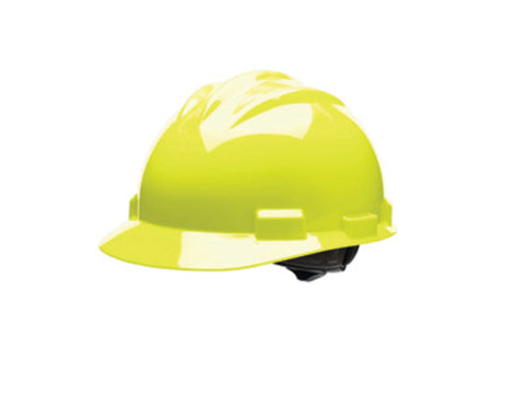 Bullard® Hi-Viz Yellow HDPE Cap Style Hard Hat With Ratchet/4 Point Ratchet Suspension   -Price is per 20 Each