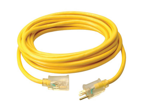"CCI® .567"" X 50' 125 VAC 15 A 10/3 AWG SJTW Bare Copper PVC Jacket Yellow Extension Cord With Lighted End"