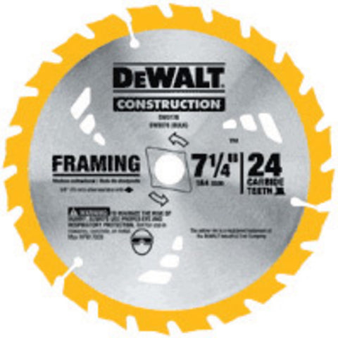 "DEWALT® 7 1/4"" X 5/8"" X .045"" 7000 RPM 24 Teeth ATB Grind Series 20 Tungsten Carbide Tipped Thin Kerf Portable Construction Circular Saw Blade -Price is per 5 Each"