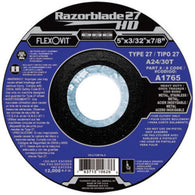 "Flexovit® 6"" X 3/32"" X 5/8"" - 11 Razorblade 27® 24 - 30 Grit Aluminum Oxide Grain Reinforced Type 27 Spin-On Depressed Center Cut Off Wheel   -Price is per 10 Each"