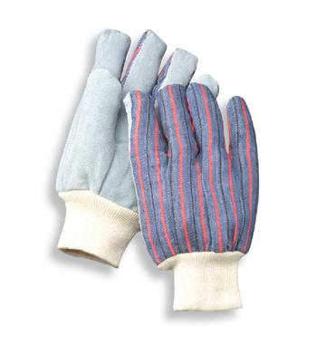 Radnor Ladies Economy Grade Split Leather Palm Gloves With Canvas Back And Knit Wrist Cuff