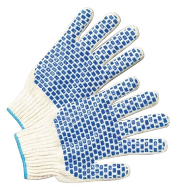 Radnor® Blue/Natural Ladies Cotton And Polyester Seamless Knit General Purpose Gloves With Knit Wrist