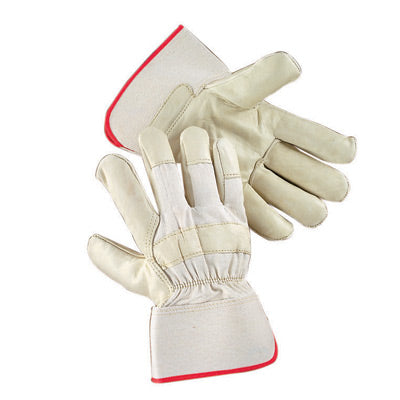 Radnor Large Premium Leather Palm Gloves With Canvas Back And Safety Cuff