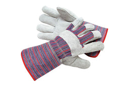 Radnor Large Economy Grade Split Leather Palm Gloves With Canvas Back And Gauntlet Cuff