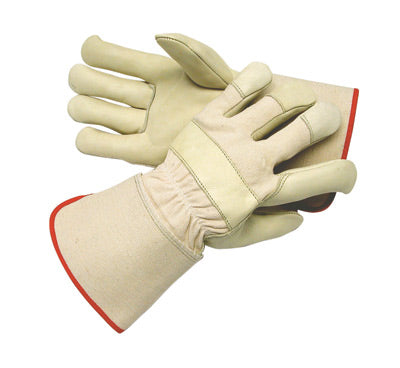 Radnor Large Premium Leather Palm Gloves With Canvas Back And Gauntlet Cuff