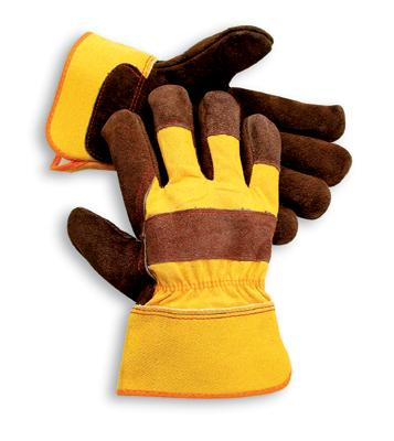 Radnor Large Shoulder Split Leather Palm Gloves With Canvas Back And Safety Cuff