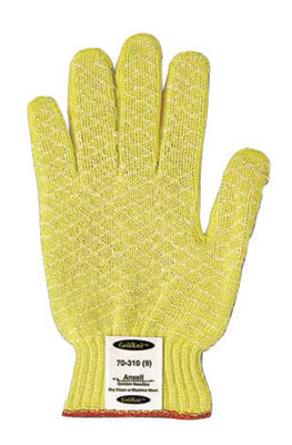 Ansell Size 9 Yellow GoldKnit® Dotted Style Gunn Cut Medium Weight Cut Resistant Gloves With Knit Wrist, Kevlar® Lined And PVC Dots Coating