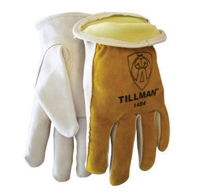 Tillman™ 2X Gold And White Leather Cut Resistant Gloves With Standard Cuff, Kevlar® Sock Lined, Keystone Thumb And Elastic Back