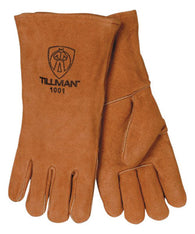 "Tillman™ Large 14"" Bourbon Brown Shoulder Split Cowhide Cotton Lined Economy Grade Stick Welders Gloves With Wing Thumb, Welted Finger And Lock Stitching"
